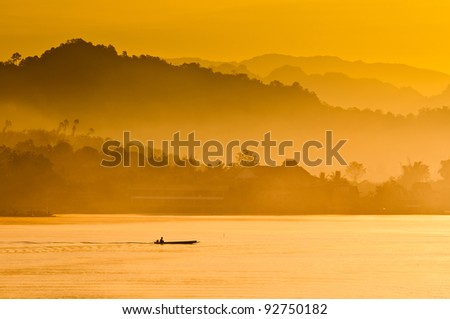 Sunrise, Mist and River for good background and tourism - stock photo