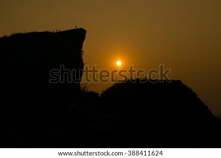 Sunrise mountain landscape background - stock photo