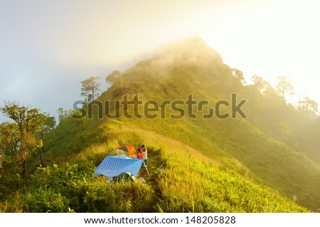 Sunrise mountain landscape in thailand - stock photo