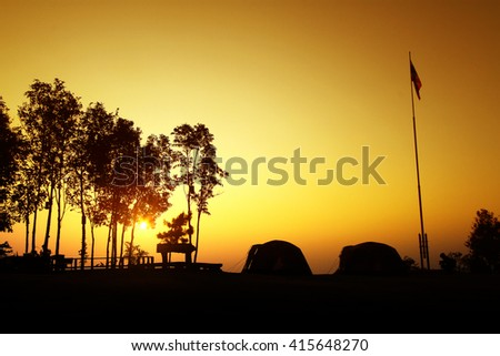 Sunrise Mountain North Thailand - stock photo