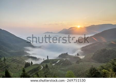 Sunrise Mountain terraced landscape - stock photo