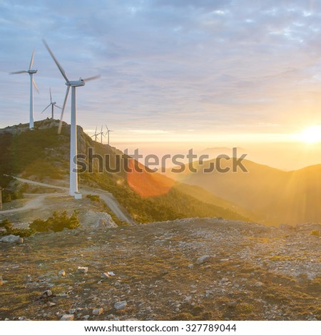 Sunrise Mountain windmill - stock photo
