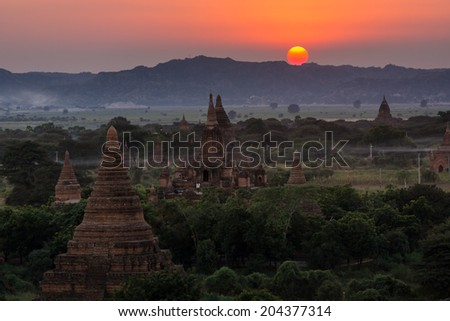 Sunrise of Bagan(Pagan), Mandalay, Myanmar - stock photo