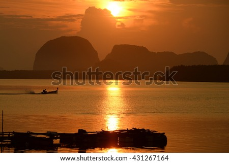 Sunrise of fisher man village. - stock photo