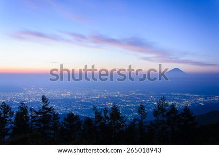 Sunrise of the Kofu city and Mt.Fuji in the morning