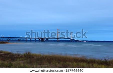 Sunrise of the Mackinac Bridge Michigan - stock photo
