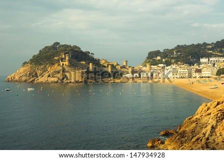 Sunrise of Tossa de Mar in Catalonia, Spain - stock photo