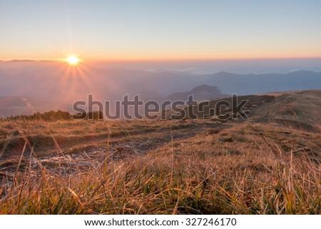 Sunrise on a mountain ridge - Greater Fatra National Park, Slovakia, Europe - stock photo
