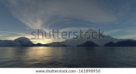 Sunrise on a snow covered mountain and lake - stock photo