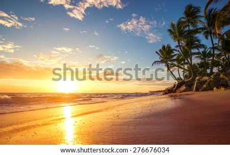 Sunrise on a tropical island - stock photo