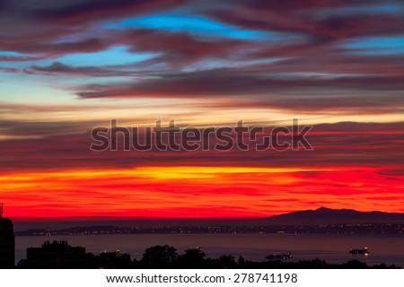 Sunrise on Algiers, Algeria - stock photo