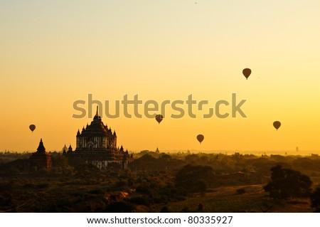 sunrise on bagan, Burma - stock photo