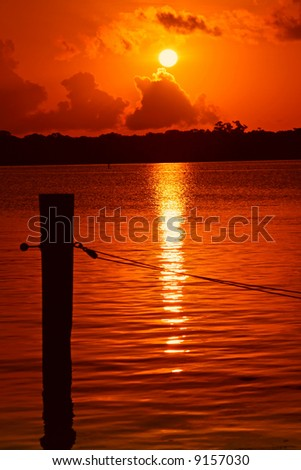 Sunrise on Boca Ceiga Bay near Madeira Beach Florida - stock photo