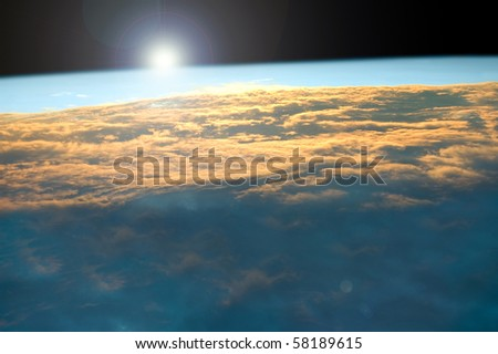 Sunrise on Earth seen from space.