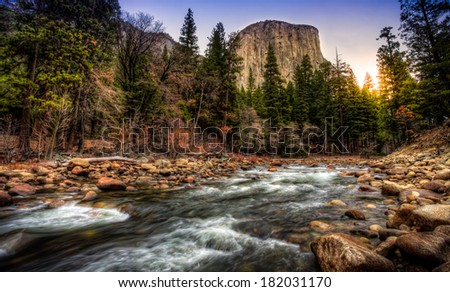 Sunrise on El Capitan & the Merced River, Yosemite National Park, California - stock photo