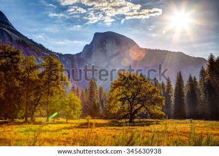 Sunrise on Half Dome, Yosemite National Park, California  - stock photo