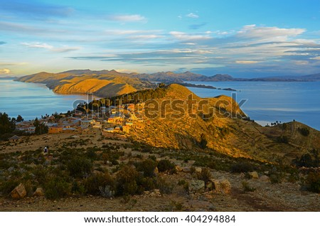 Sunrise on Isla del Sol with a view over the Titicaca lake, Bolivia.  - stock photo