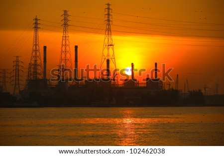 Sunrise on Power Plants; Bangkok, Thailand - stock photo