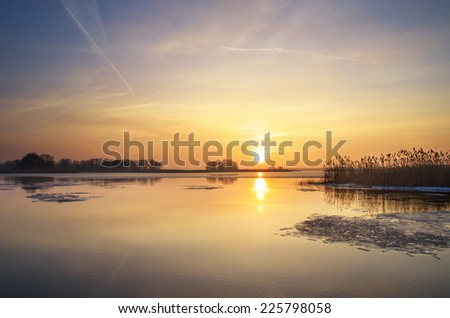 Sunrise on river. Nature composition. - stock photo