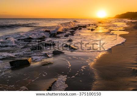 sunrise on the Baltic Sea of Usedom Island, Germany - stock photo