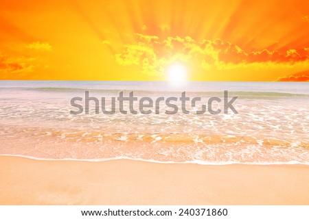sunrise on the beach - stock photo