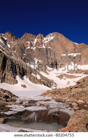 Sunrise on the diamond of Longs Peak, from a still frozen Chasm Lake - stock photo