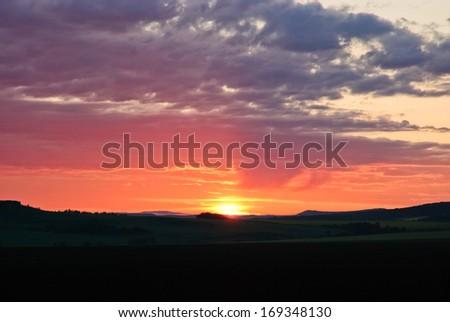 sunrise on the hill, Inner-Mongolia, China - stock photo