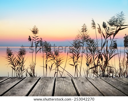 sunrise on the lake colors - stock photo
