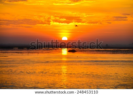 Sunrise on the lake with beautiful sky