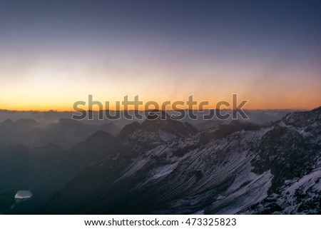 Sunrise on the Parpaner Rothorn mountain peak in the Alps - 4