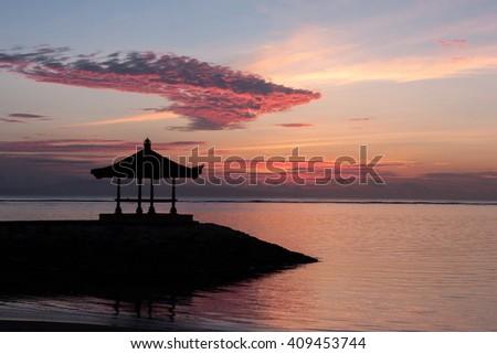 Sunrise on the Sanur beach, Bali, Indonesia - stock photo