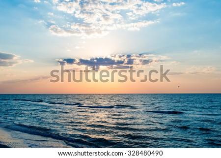 Sunrise on the sea - stock photo