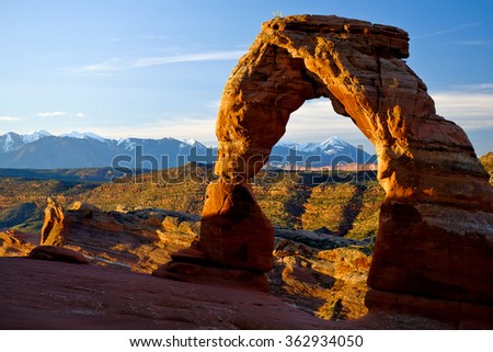 Sunrise on the The Delicate Arch, Arches National Park, Utah - stock photo