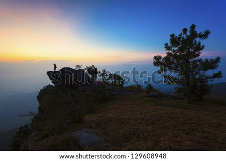 Sunrise on the top of mountain in Thailand - stock photo