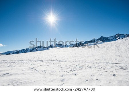 Sunrise on top  of  fox Glacier New Zealand - stock photo