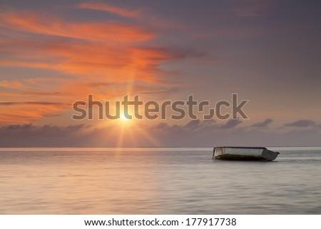 Sunrise on tropical island Mauritius - stock photo