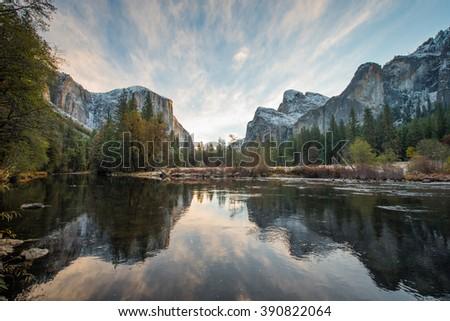 Sunrise on Yosemite Valley, Yosemite National Park, California - stock photo