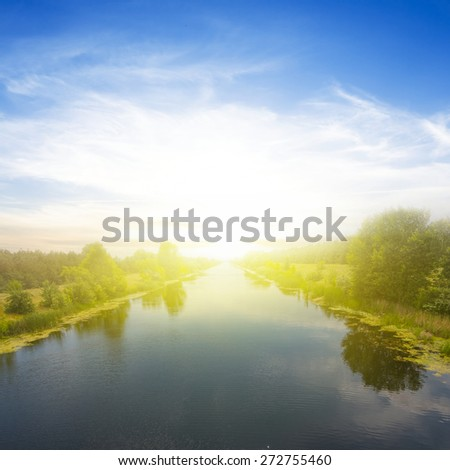 sunrise over a river - stock photo