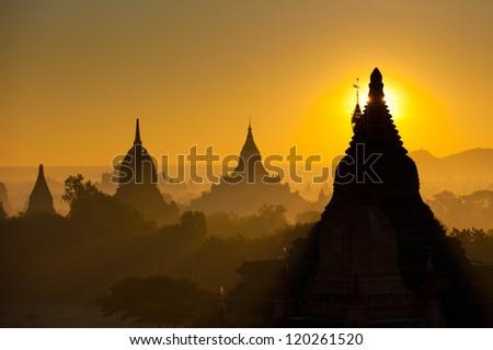 Sunrise over ancient Bagan, Myanmar - stock photo