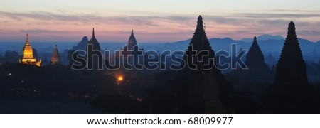 Sunrise over Bagan temple scenics in Myanmar Burma