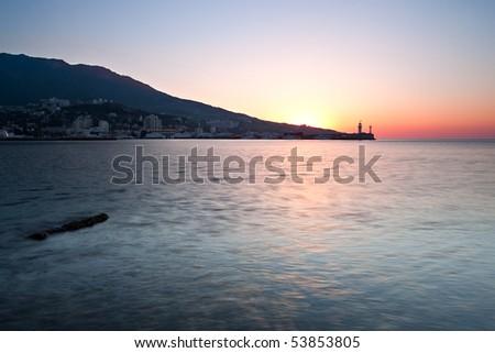 sunrise over black sea coastline. Black sea, Yalta, Ukraine, Crimea - stock photo