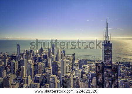 Sunrise over Chicago financial district- aerial view - stock photo