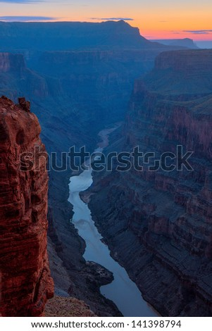 Sunrise over Colorado River, Toroweap, Grand Canyon, Arizona - stock photo