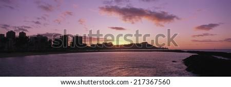 Sunrise over Diamond Head, Waikiki, Oahu Island, Hawaii, USA - stock photo