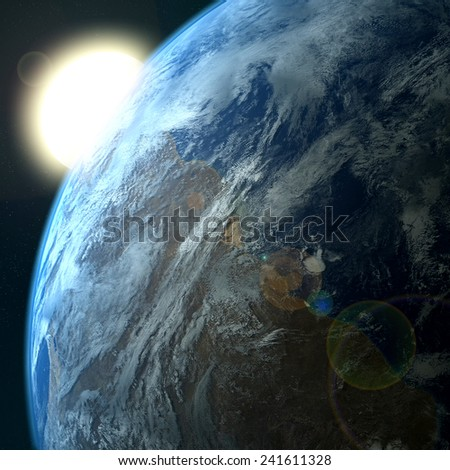 Sunrise over Earth seen from space,Elements of this image furnished by NASA