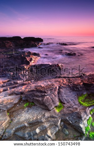 Sunrise over Irish Sea in Malahide, Republic of Ireland - stock photo