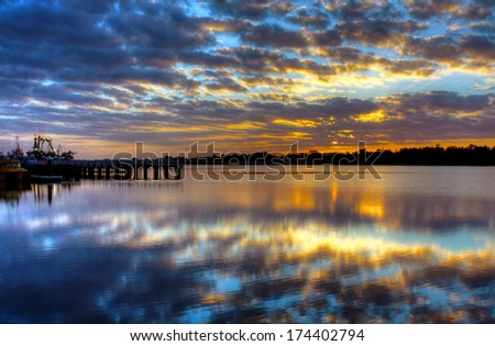 Sunrise over Lake Entrance, Australia - stock photo