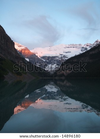 Sunrise over Lake Louise - stock photo