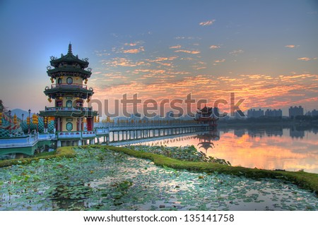 Sunrise over Lotus Lake, Zuoying, Kaohsiung, Taiwan - stock photo