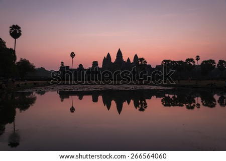 Sunrise over lotus pond at Angkor Wat